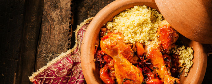 Dish with couscous and chicken from the tajine